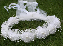 Wholesale Lace Headbands White - 2016 New Arrival White Fashion Lace Wreath Flower Girls Hair Accessories Floral Headwear Tiara Crown Headband