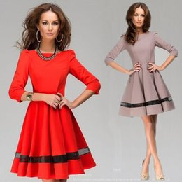 Elegant Ladies Red khaki 3 4 Sleeve Work Dress Slim-Fit A-line Skater Dresses Fashion Women Slash Neck Office Formal Dresses MDF0202