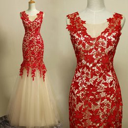 Exquisite Champagne Red Lace Mermaid Prom Dresses Sheer V Neck Cap Sleeve Open Back Floor Length Sexy Backless Evening Dresses LA