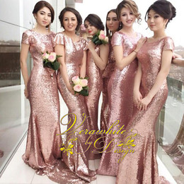 Stunning Rose Gold 2016 Mermaid Bridesmaid Dresses Bateau Neck Sequins Zipper Back Plus size Formal Evening Party Gowns Custom