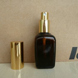 50ml brown amber square Glass perfume Bottle With aluminum shiny gold mist sprayer. perfume atomizer bottle container