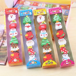 Wholesale Christmas Erasers Rubbers Xmas Eraser Gift Boys Girls Stocking Filler In Cute Gift box pc Set