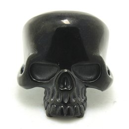 New Design Polishing Black Skull Ring 316L Stainless Steel Cool Man Fashion Jewelry Band Party Black Skull Ring Wholesale 4pcs lot