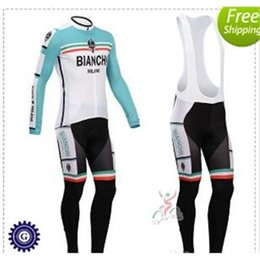 Wholesale 2015 new Bianchi Green Cycling Jerseys Long Sleeve Bicycle Wear Winter Thermal Fleece Bike Wear Bib Pants Ultra Breathable Bike Shirts