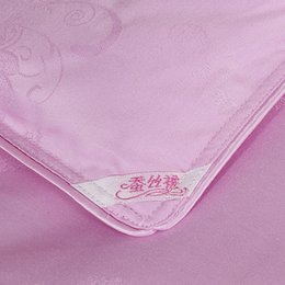Edredones de seda pura en Línea-Venta al por mayor de alta calidad! trabajo hecho a mano posicionamiento diagonal de 1,5 kg edredón de seda pura de seda rosa de invierno 180x220cm edredón