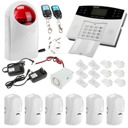 Wholesale US Stock Wireless LCD Display GSM SMS Home Security Alarm System Auto Dialer Motion Sensor Burglar System Phone Remote control Out Alarms
