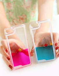 Wholesale Cas de téléphone Clear pour iPhone S G S Plus de Liquid nage libre poisson dynamique Sea World Ocean Quicksand BackCover Transparent