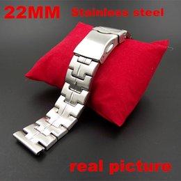 Descuento bandas de acero inoxidable enlaces Al por mayor-Nuevo llegado 1PCS-22MM de la alta calidad del acero inoxidable une Banda de reloj del reloj de la correa de color plata-110703