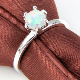 Cheap Wholesale 5pcs lot Newest White Fire Opal Gemstone .925 Sterling Silver Flower Ring Mexico American Australia Weddings Jewelry Gift
