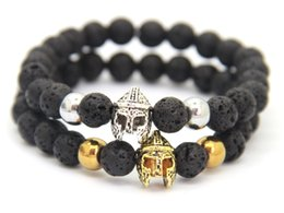 New Products Wholesale Beaded 8MM Lava stone beads Gold and Silver Roman Spartan Warrior Helmet Bracelets for Men Gift