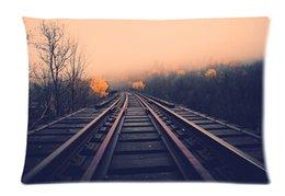 Wholesale Gift Of Vintage railroad Fashion Custom Style Cotton Linen Decorative Single Pillow Case Standard Size x60cm Twin Sides
