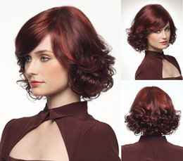 Noble elegant short curly burgundy u part silk base synthetic wigs for white women with good PVC bag