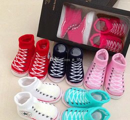 Wholesale New Baby Infant Shoe Socks C NVERSE BABY INFANT Boys Girls CRIB SHOES BOOTIES SOCKS boot sock M with Original Box color