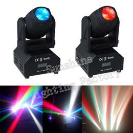 Wholesale-2pcs lot, CREE Led 12w Moving Head Spot Effect Light Mini Lighting DJ KTV Disco Beam Lights RGBW Pure White Color