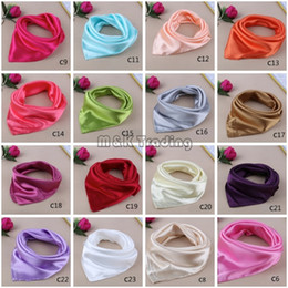 Wholesale 23 Pure Colors Satin Small Silk Scarf Solid Colors Small Imitation Scarf Gorgeous Kerchief Women Business Attire Mix Colors