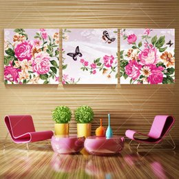 3 Piece Canvas Wall Art Painting Beautiful Peony Flower Home Decoration Living Room Wall Pictures Print on Canvas(No Frame)