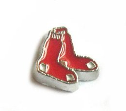 Wholesale 20PCS Boston Red Sox baseball team DIY Alloy Floating Locket Charms Fit For Magnetic Living Locket Pendant Fashion Jewelrys N031