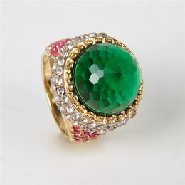 Wholesale 2016 BEST VALENTINE GIFT K Gold Plated Emerald Stone Rhinestone Engagement Rings For Women Turkish Style Wedding Band Accessories Jewelry