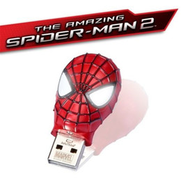 Wholesale SPIDERMAN Waterproof GB GB Amazing Spider Mask METAL USB2 Flash Drive memory pen drive pendrives thumbdrive Retail metal package