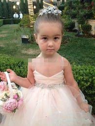 Wholesale Spaghetti Straps V Neck Flower Girls Dresses Dresses for little Girls Pageant Tulle Skirt Beaded Sash Covered Button Bow Back_