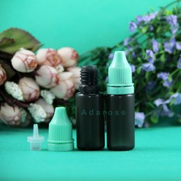100 Pcs Lot 10 ML LDPE BLACK Plastic Dropper Bottles With Tamper Proof Caps & Tips Squeezable Bottle thin nipple