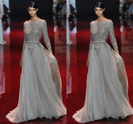 Wholesale Sexy Black Pageant Gowns - Appliques 2016 Evening Dress Beaded Valentino Elie Saab Sash Sweep Train Sheer Neck Long Sleeves New Party Pageant Dresses Gown Formal Gowns