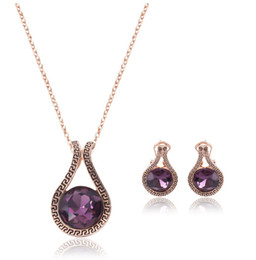 Austrian Crystal Jewelry Sets Retro Style Necklace Earrings Sets For Women Best Gift bridesmaid jewelry sets CAL11048J