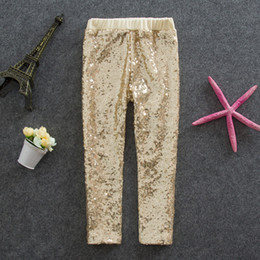 Wholesale Autumn New girls Leggings kids gold sequins pants children Bottoms girls princess pants A6949