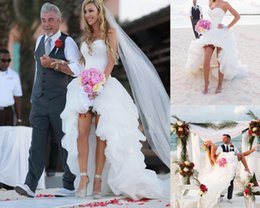 Sexy High Low Wedding Dresses Organza Draped Sweetheart Beach Spring vestido de novia 2015 Sleeveless Bridal Dresses Ball Gowns For Wedding