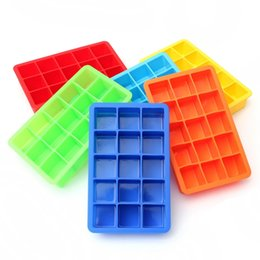 Wholesale 15 Cavity Square Silicone Ice Tray Mold Silicon Ice Cube Mould Cake Baking Pan Free china post