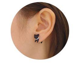 Wholesale Best price Black Pc Punk Cool Simple Stereoscopic Cat Kitten Impalement Lady Stud Earring