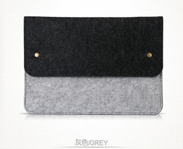 Wholesale Button storage Laptop bag macbookpro air11 quot felt notebook computer bag case drop shipping Can be customized adding logo