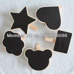 Wholesale Deal Mini Print Black Board With Peg Clip Wood Craft For Wedding Party Decoration Bear