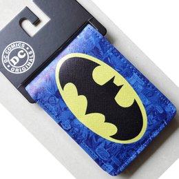 Wholesale Animated cartoon Batman wallet New Hot DC Comics Batman Bat Logo wallets Purse Blue cm Leather Man women Cool