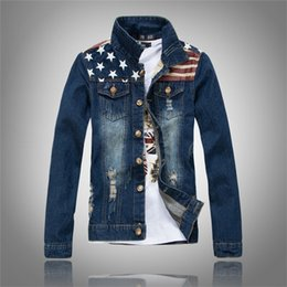 Free Shipping New American flag jeans jacket mens motorcycle short jacket vintage denim coat outerwear coats man clothes US size XXS-XL