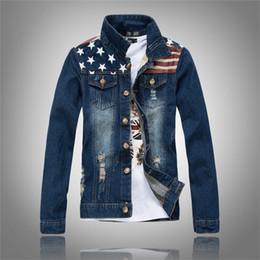 Free Shipping New American flag jeans jacket mens motorcycle short jacket vintage denim coat outerwear coats man clothes US size XXS-XL