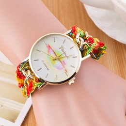 Wholesale Lip kiss Creative watches Fashion Antique Braided Fabric Bracelet Watch Women Geneva Quartz Watch Female Clock