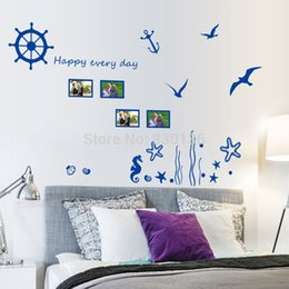 """New Arrive Blue sea """"Underwater World"""" Seagull wall stickers for living room for children kids bed room wall sticker home decor"""