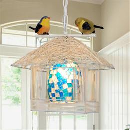 Wholesale European Modern Nest Rattan Small House Pendant Lamp Living Room Pendant Lights Restaurant LED Creative Den Bedroom Vintage Chandelier