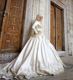 Noble Lace Ball Gown Bridal Satin Wedding Dress New Long Sleeve Bridal Gowns Muslim Wedding Gown 2016