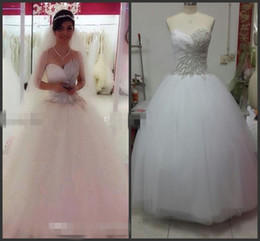 Real Photo 2015 Ball Gown Bling Princess Wedding Dresses Tulle Crystal Beading Sweetheart Backless Ruched Floor Length Bridal Gowns