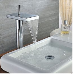 Promotion Deck Mounted Chrome Waterfall Spout Bathroom Basin Faucet Single Handle Single Hole +Cold Hot Water