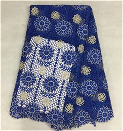 Excellent royal blue flower french guipure lace with beads african water soluble lace fabric for party dress BW51-4,5yards pc