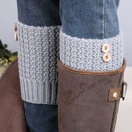 Wholesale-2015 Boot Cuffs Knit Leg Warmers Womens Button Boot Socks Gaiters Ladies Legwarmers Crochet Boot Toppers Winter Fall Calcetines