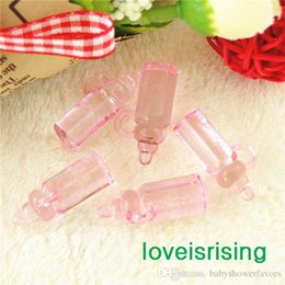 New Arrivals--200pcs Mini Acrylic Clear Pink Baby Bottles Baby Showers Favors~Cute Charms ~cupcake decorating