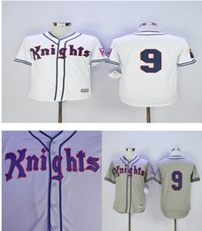 Men's cheap stitched GREY white NEW YORK KNIGHTS THE NATURAL MOVIE #9 ROY HOBBS BASEBALL JERSEY