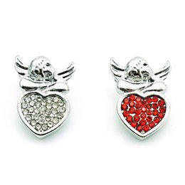 Fashion 18mm Snap Buttons 2 Color Rhinestone Heart Angel Ginger Clasps Interchangeable Bracelets Jewelry Accessories NKC0031