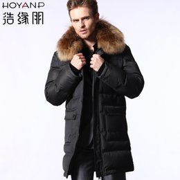 Fall-Hoyanp 2015 New 100% Brand New male medium-long hooded down coat male Down & Parkas Men's Clothing Coats & Jackets Men,