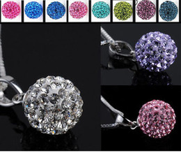 5pcs 925Sterling Silver Shamballa Crystal Disco Ball Necklace Pendant+Chain 12 Colors