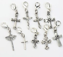 Cross Jesus Lobster Claw Clasp Charm Beads 90pcs lot 9Styles Tibetan Silver Floating Fit Bracelet Jewelry Findings Components C429-C512